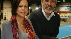 Sinn Fein's Mary Lou McDonald pictured with party leader Gerry Adams