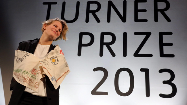 Laure Prouvost after she is announced as the winner of this years Turner Prize at the Venue in Londonderry