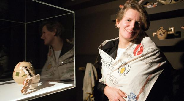 Laure Prouvost, the winner of this years Turner Prize, with her with her art work at the Venue in Londonderry Pic Paul Faith