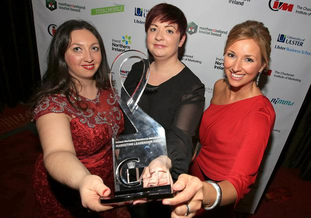The Chartered Institute of Marketing Ireland Board Chair, Christine Watson with Kathryn Pyper of Ambition Digital and awards host Claire McCollum at The Chartered Institute of Marketing Ireland Marketing Excellence Awards.