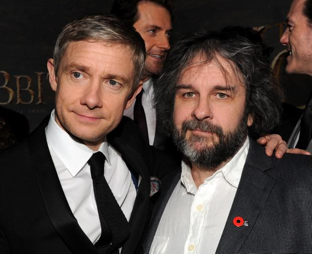 "HOLLYWOOD, CA - DECEMBER 02: Actor Martin Freeman and writer/producer/director Peter Jackson attend the premiere of Warner Bros' ""The Hobbit: The Desolation of Smaug"" at TCL Chinese Theatre on December 2, 2013 in Hollywood, California. (Photo by Kevin Winter/Getty Images)"