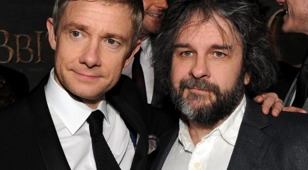 HOLLYWOOD, CA - DECEMBER 02: Actor Martin Freeman and writer/producer/director Peter Jackson attend the premiere of Warner Bros'