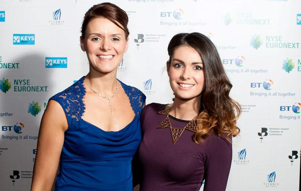 Thea Parks and Carly Young attending the NICC President's Banquet at Titanic Belfast