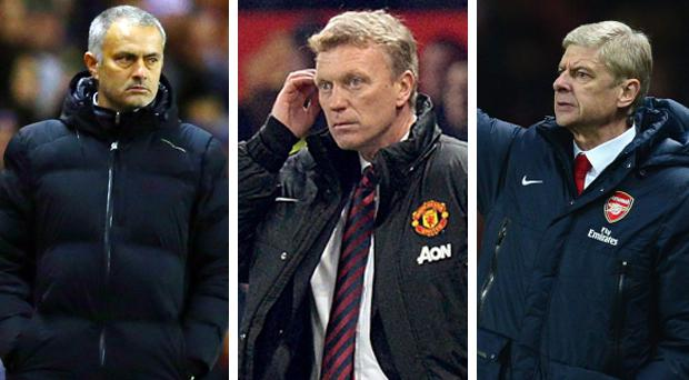 Jose Mourinho (L) and Arsene Wenger (R) have refused to rule out David Moyes' (C) Manchester United out of the title race