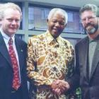 Sinn Fein's Martin McGuinness and Gerry Adams pictured with Nelson Mandela