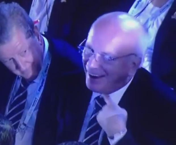 FA chairman Greg Dyke makes throat-slitting gesture after England are drawn Group D with Uruguay, Italy and Costa Rica