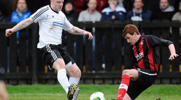 Action from Banbridge Town v Rathfriland Rangers, Irish Cup fourth round, December 7