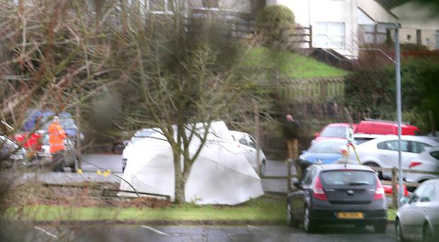 The scene at Monaghan Bros garage, Lisnaskea, where George Wilson was killed. Picture by John McVitty