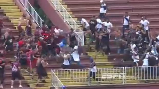 Brazilian fans riot at the match between Atletico PR and Vasco da Gama. Picture: YouTube