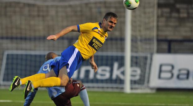 Action from Bangor v Knockbreda - Irish Cup Round 4, December 7