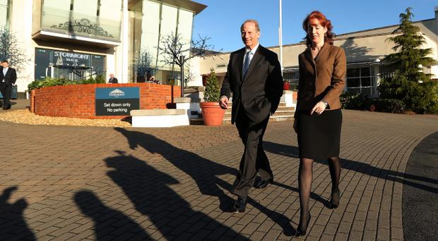 Dr Richard Haass pictured with with Harvard professor Meghan O'Sullivan at the Stormont Hotel in Belfast