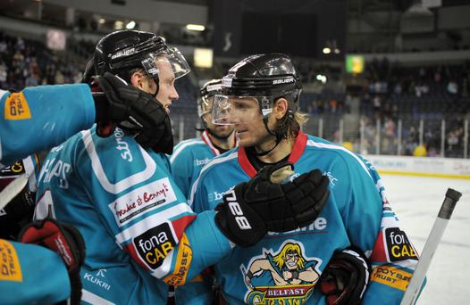 7/12/13: Man of the Match, Kevin Saurette of the Belfast Giants celebrates after beating the Edinburgh Capitals in the Elite League game at the Odyssey Arena, Belfast.