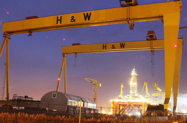A giant oil rig from Brazil has docked in Belfast for refit at Harland and Wolff Shipyard