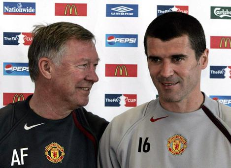 Former Manchester United manager Sir Alex Ferguson and captain Roy Keane (File photo dated 18/05/2005)
