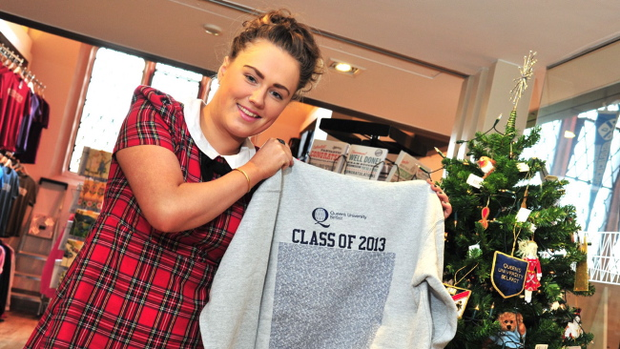 Katrina Wallace shows off the Queen's University Class of 2013 jumper