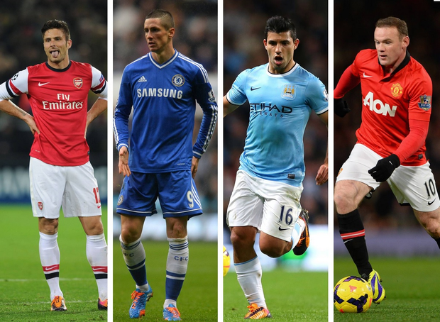 Olivier Giroud of Arsenal, Fernando Torres of Chelsea, Sergio Aguero of Manchester City and Wayne Rooney of Manchester United