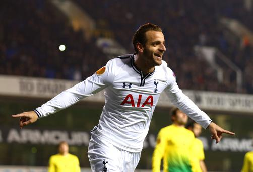 Roberto Soldado of Tottenham Hotspur celebrates scoring their first goal during the UEFA Europa League Group K match between Tottenham Hotspur FC and FC Anji Makhachkala at White Hart Lane on December 12, 2013 in London, England. (Photo by Paul Gilham/Getty Images)