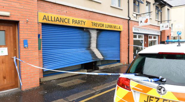 A pipebomb was used to attack an Alliance Party office in Lisburn on Saturday morning. Pic Mark Marlow/Pacemaker