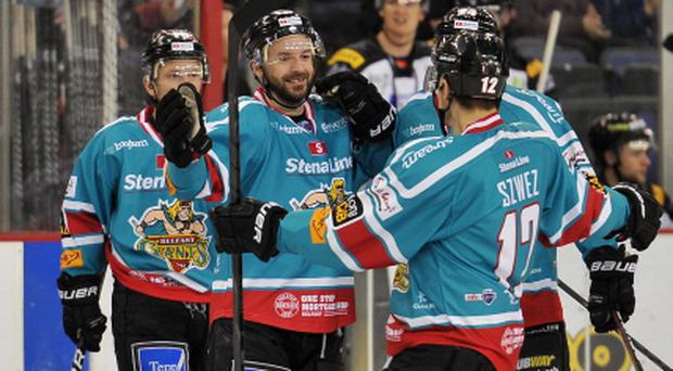 Colin Shields of the Belfast Giants celebrates after scoring the first goal against the Sheffield Steelers during the Elite League game at the Odyssey Arena, Belfast.