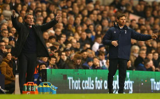 LONDON, ENGLAND - DECEMBER 15: Brendan Rodgers of Liverpool and Andre Villas-Boas manager of Tottenham Hotspur on the touchline during the Barclays Premier League match between Tottenham Hotspur and Liverpool at White Hart Lane on December 15, 2013 in London, England. (Photo by Paul Gilham/Getty Images)