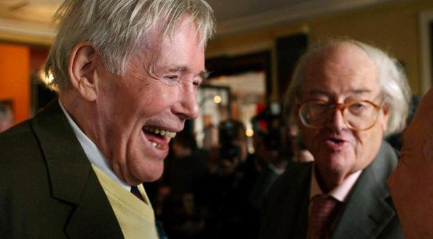 Peter O'Toole (left) and John Mortimer QC in 2004 during the 12th annual Oldie of the Year Awards at Simpsons on the Strand in central London