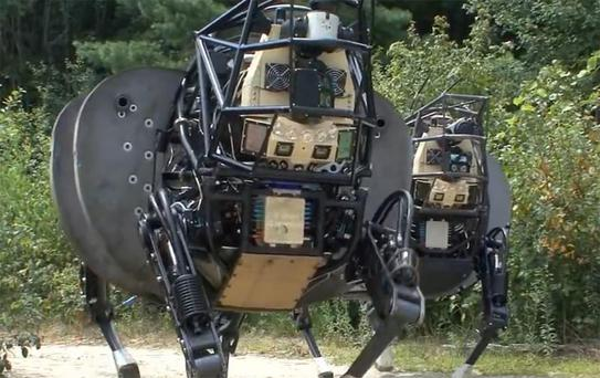Google has unveiled new robots from after buying Boston Dynamics. Pictured 'BigDog'