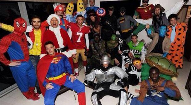 The Arsenal team dressed up as superheros and movie characters for their Christmas party in London. Photo: Twitter/@JackWilshere