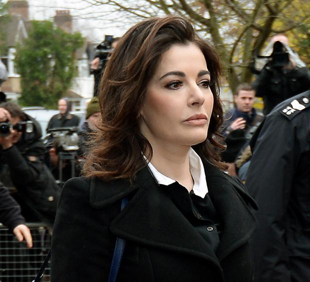 TV cook Nigella Lawson arriving at Isleworth Crown Court in west London to give evidence in the case two of her former personal assistants who have today been found not guilty of defrauding the celebrity couple of nearly 700,000 pounds.