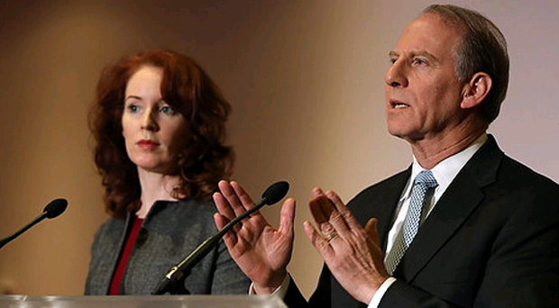 Former US diplomat Richard Haass and Vice-chair Dr Meghan O'Sullivan at a press conference at the Stormont Hotel as he attempted to reach an agreement with Northern Ireland's five main parties