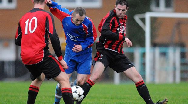 Action from Temple Rangers v Grove United, December 21
