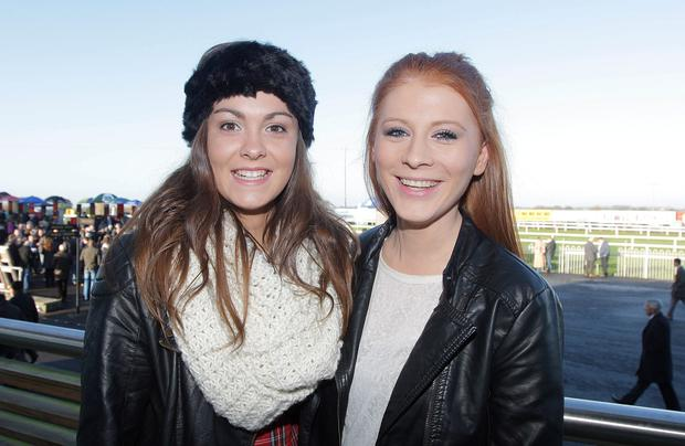 Boxing day race meeting at Down Royal, Co. Down. Rachael Edler and Alice Bennett from Belfast.