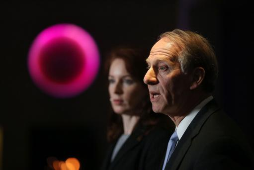 Dr Richard Haass and Dr Meghan O'Sullivan at the Stormont Hotel, Belfast after a late night of round table talks. Picture by Kelvin Boyes / Press Eye.