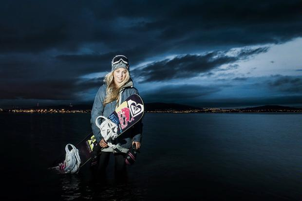 Snowboarder Aimee Fuller pictured on Belfast Lough. Pic Red Bull