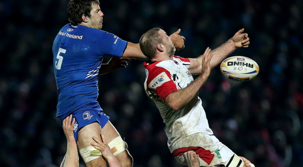 Leinster's Mike McCarthy and Lewis Stevenson of Ulster