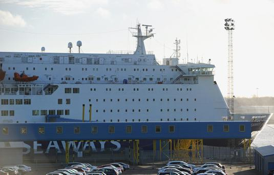 The DFDS King Seaways ferry is moored alongside at the Port of Tyne following a fire on board the ship