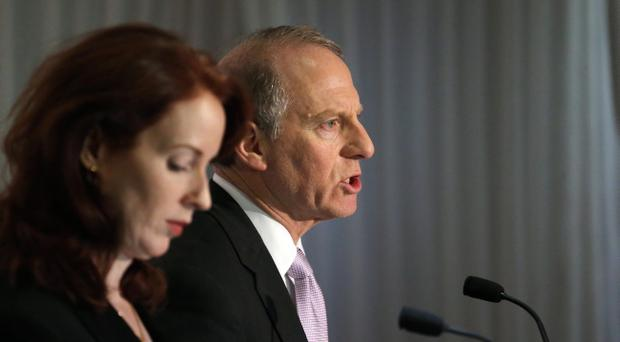 Richard Haass and Meghan O'Sullivan at 5.30 yesterday morning after the talks ended without any resolution