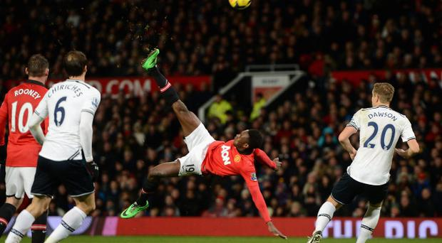Danny Welbeck of Manchester United performs an overhead kick during the Barclays Premier League match between Manchester United and Tottenham Hotspur