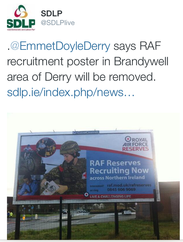 On Thursday the SDLP tweeted a picture of the billboard, telling followers the party's Derry City Council candidate Emmet Doyle had been flooded with complaints from residents.