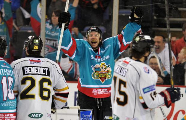2/1/14: Kevin Saurette of the Belfast Giants celebrates scoring the forth and game winning goal in the 4-3 defeat of the Nottingham Panthers during the Elite League game at the Odyssey Arena, Belfast.