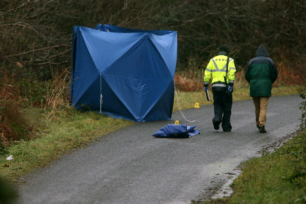 Forensic officers at the scene just off the the main Kesh to Belleek road, where a fatal road traffic collision has occurred. Picture by John McVitty