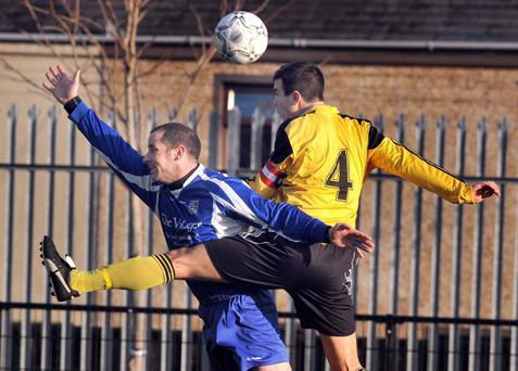 Action from the Clarence Cup first round where Kilmore Rec beat Shankill United 8-2