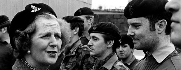 Battle lines: Margaret Thatcher meets soldiers from 39 Field Regiment of Royal Artillery at Enniskillen in 1981