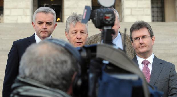 First Minister Peter Robinson speaks to the media at Stormont following Haass draft. Pic Colm Lenaghan/Pacemaker
