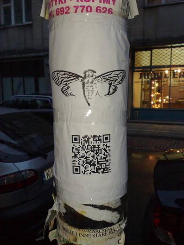The cicada logo and an accompanying QR code are seen on a poster attached to a lampost in Warsaw.