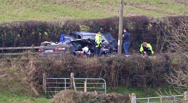 The scene outside Sion Mills, County Tyrone where one person died following an accident involving two vehicles. Pic Martin McKeown