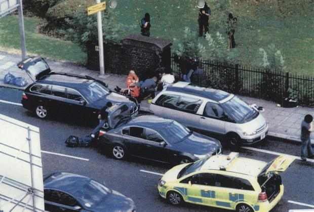 A photograph of the scene which was shown as evidence to the jury at the Royal Courts of Justice, during the inquest for Mark Duggan's death