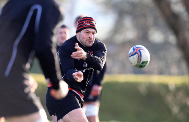 Ulster's Rory Best at training ahead of Friday night's clash with Montpellier. Pic Darren Kidd