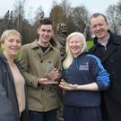 Paralympians Michael McKillop and Kelly Gallagher pictured receiving their Mary Peters Trust Outstanding Sportsperson Award 2013 from Mary Peters Trust Chairperson, Eilish Rutherford and Disability Sports NI CEO, Kevin O'Neill