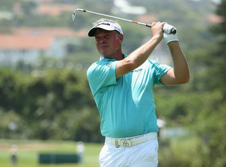 DURBAN, SOUTH AFRICA - JANUARY 09: Darren Clarke of Northern Ireland during the first round of the 2014 Volvo Golf Champions at Durban Country Club on January 9, 2014 in Durban, South Africa. (Photo by Ian Walton/Getty Images)