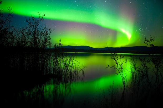The Northern Lights (Aurora borealis) over Lake Laberge, Yukon Territory, Canada. Shutterstock.